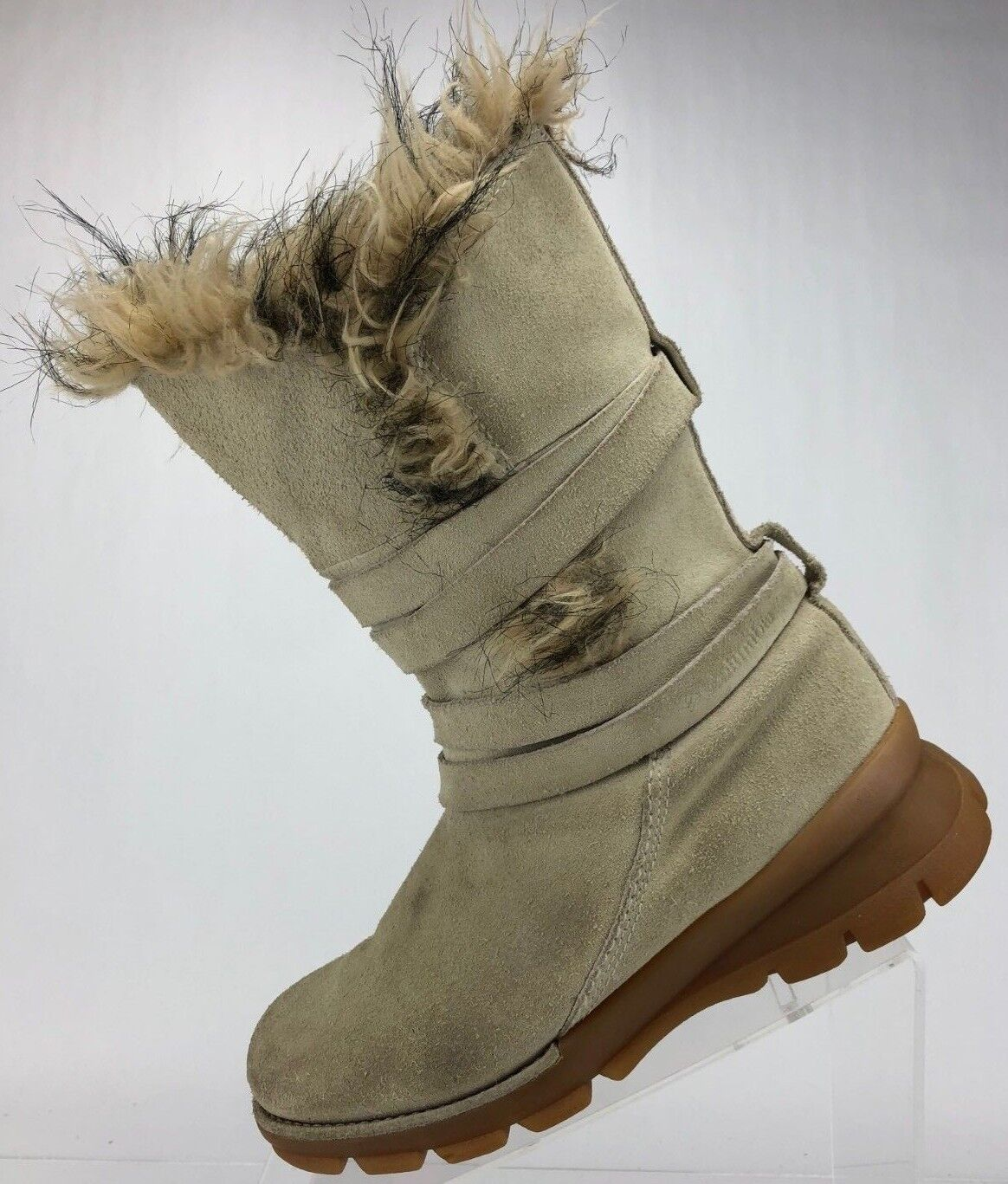 Columbia Winter Boots Faux Fur Shearling Mid Calf Chatel shoes Womens 7 Beige