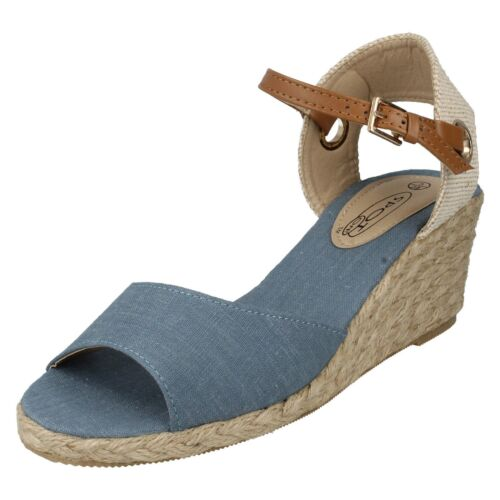 *SALE* Spot On F2249 Ladies Blue  Wedge Sandals