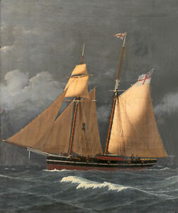 oil-painting-handpainted-on-canvas-034-Two-masted-schooner-off-Gibraltar-034-N12414