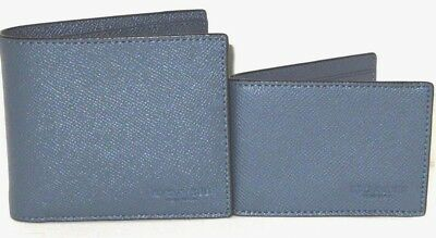 Coach Men/'s F59112 Compact ID Crossgrain Leather Wallet Dark Denim Blue $175