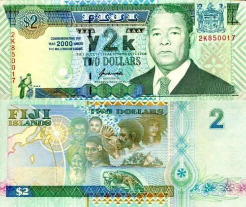 FIJI 2 Dollars Banknote World Paper Money UNC Currency Pick p102a Y2K Bill Note