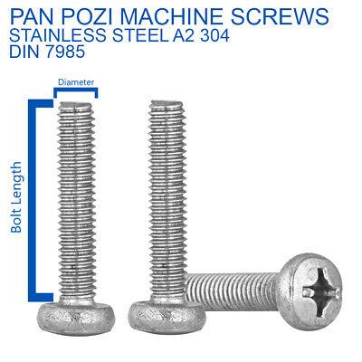M3 x 25 Pozi Pan machine Vis posi pan A2 Inoxydable 25pk-DIN 7985