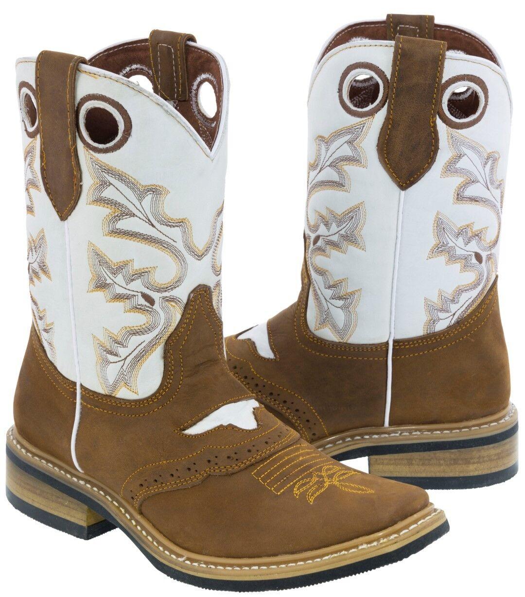 Para hombres cuero marrón claro botas Vaqueras Sillín Rodeo Toe Western Wear