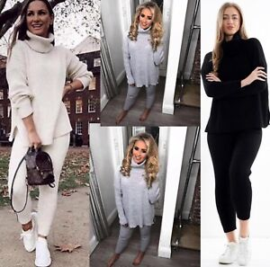 Women/'s Ladies Cowl Polo Roll Neck Jumper Cable Knitted Oversize Dress Long Top