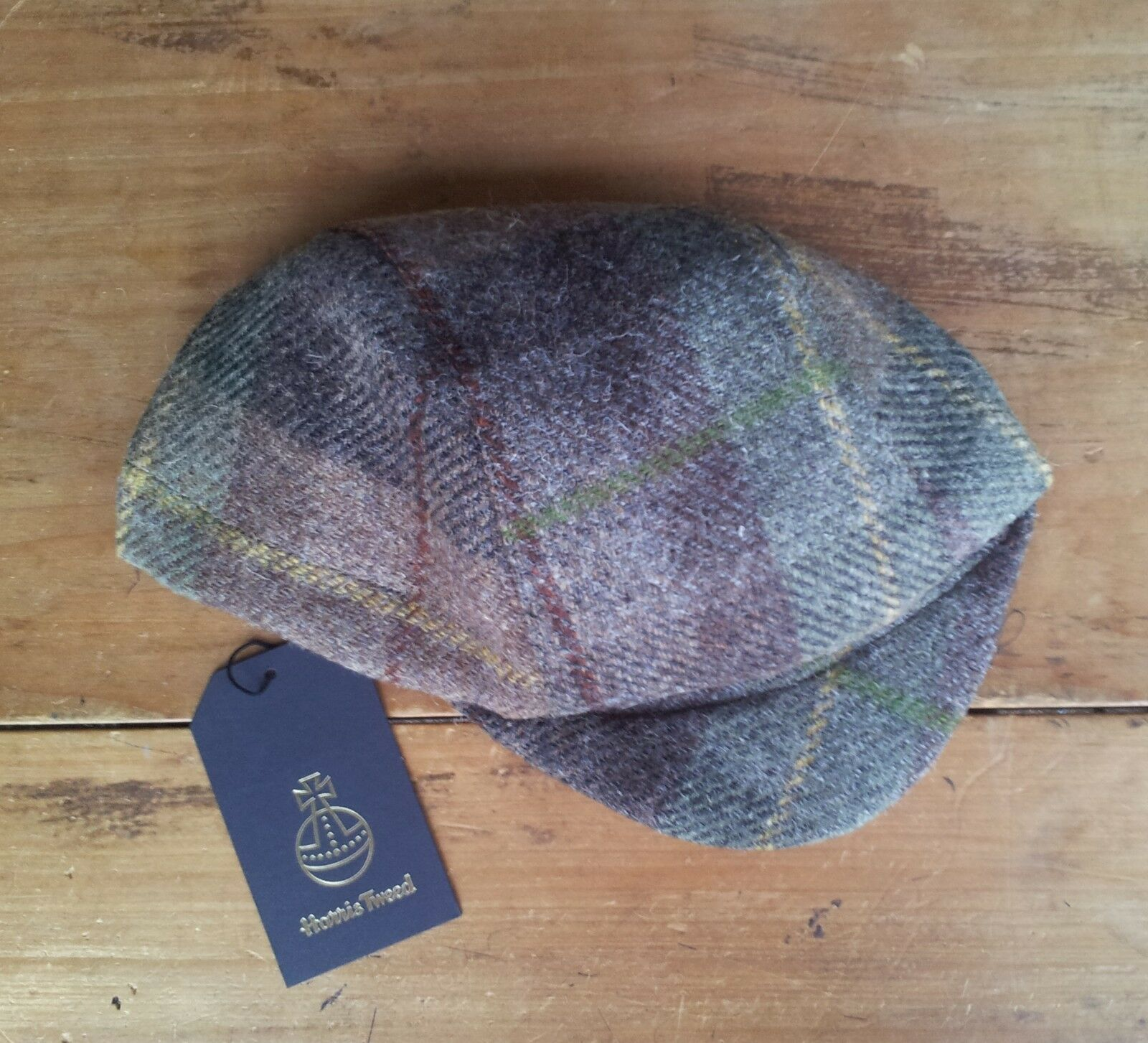 Unique Handmade Harris Tweed Cycling Cap (green and brown plaid.)
