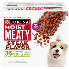 Purina Moist & Meaty Steak Flavor Adult Dry Dog Food Beef 36 Ct. Pouch