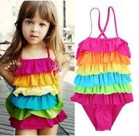 Girls Kids Swimwear Tankini Rainbow Ruffle Layered One-piece Swimsuit Beachwear