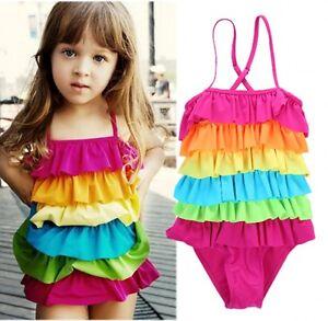 7b95ecdcd0fe9 Image is loading Summer-Toddler-Kids-Girls-Rainbow-Bikini-Swimwear-Swimsuit-