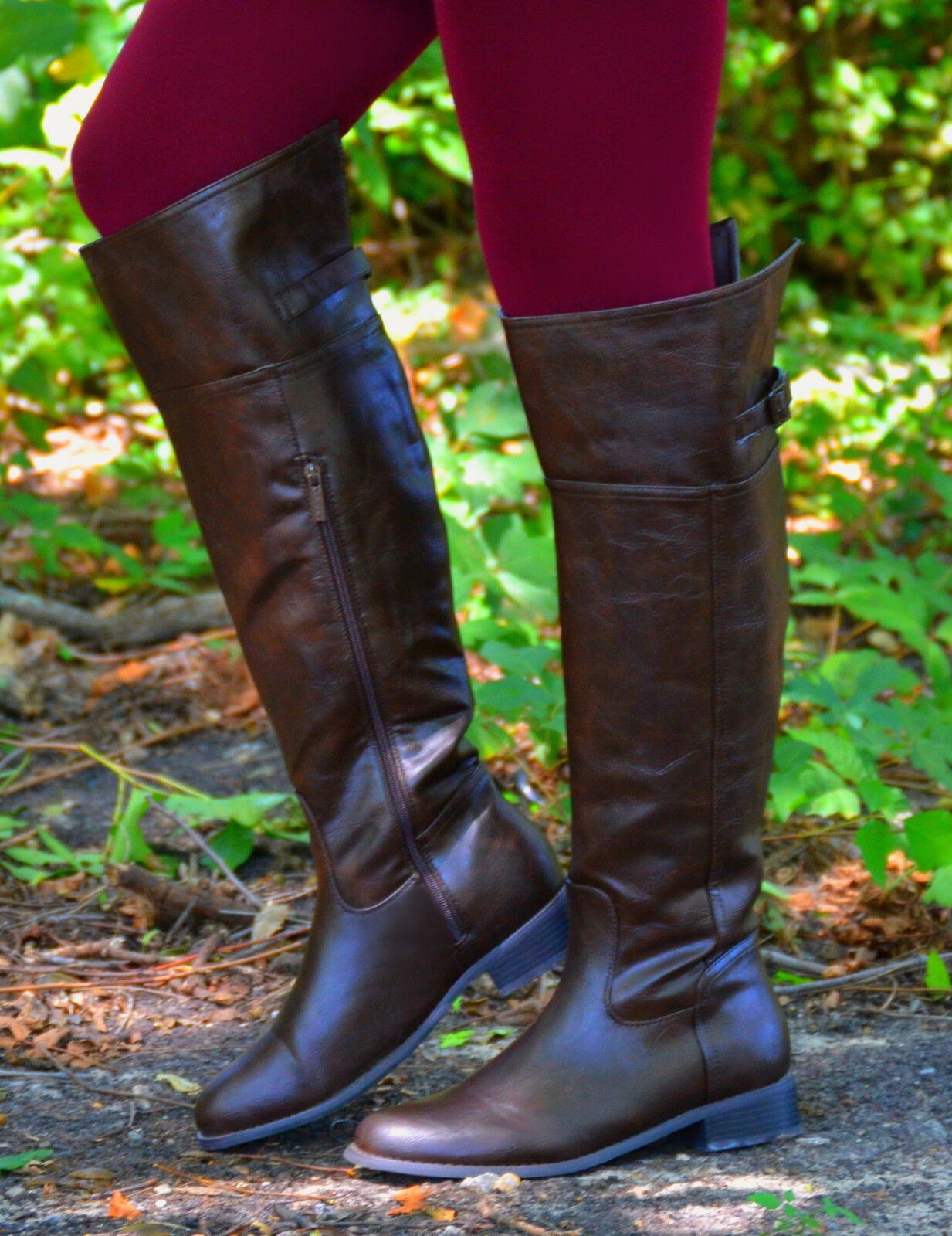 Women's Chocolate Brown Rider Boots With Side Zipper (BrownB-003) Size-8.5
