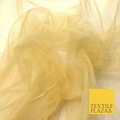 Premium LIGHT GOLD GLITTER MESH NET Tutu Sparkle Fairy Sheer Craft Dress QF763