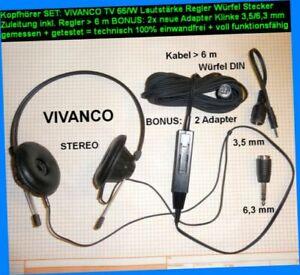 TV-SET-TV-Kopfhoerer-VIVANCO-66-W-LS-Regler-Wuerfel-Stecker-2Adapter-3-5-6-3