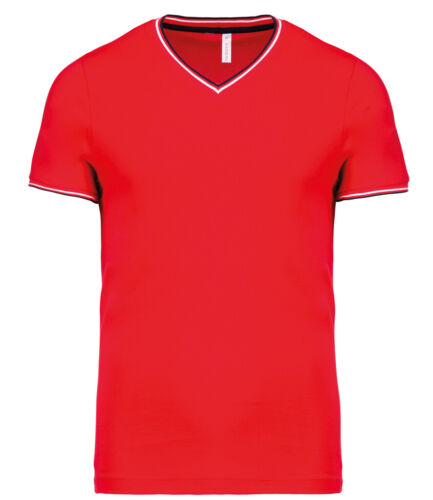Mens GREY BLACK RED or BLUE Cotton Contrast Tipped Pique Vee Neck T-Shirt