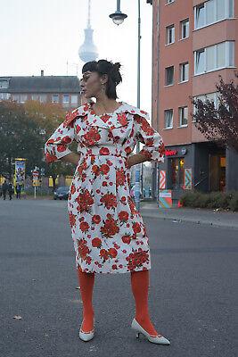 Appena Vestito Abito Donna Rose Rosse 60er Rockabilly True Vintage 60s Woman Flower Dress Roses-