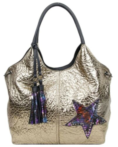 Ladies Stylish Shimmer Star Faux Leather Top Handle Bag Casual Office Handbag