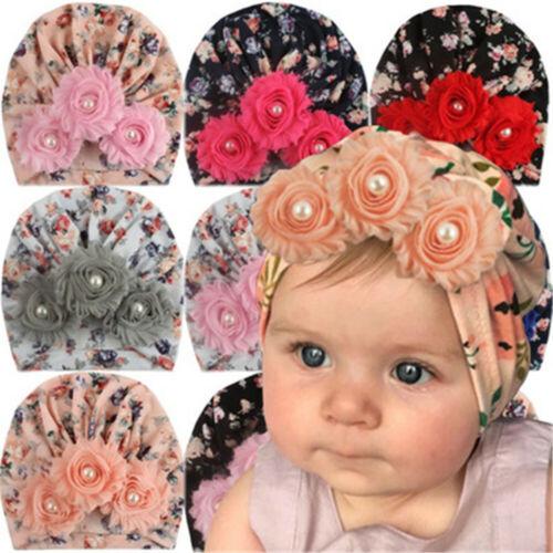 Lovely Elastic Cotton Baby Soft Hat Floral Print Turban Cap Newborn Head Wrap