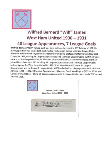 WILF JAMES WEST HAM UTD 19301931 VERY RARE ORIGINAL HAND SIGNED CUTTINGCARD