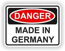 DANGER MADE IN GERMANY WARNING FUNNY VINYL STICKER DOOR HOME BUMPER MOTORCYCLE