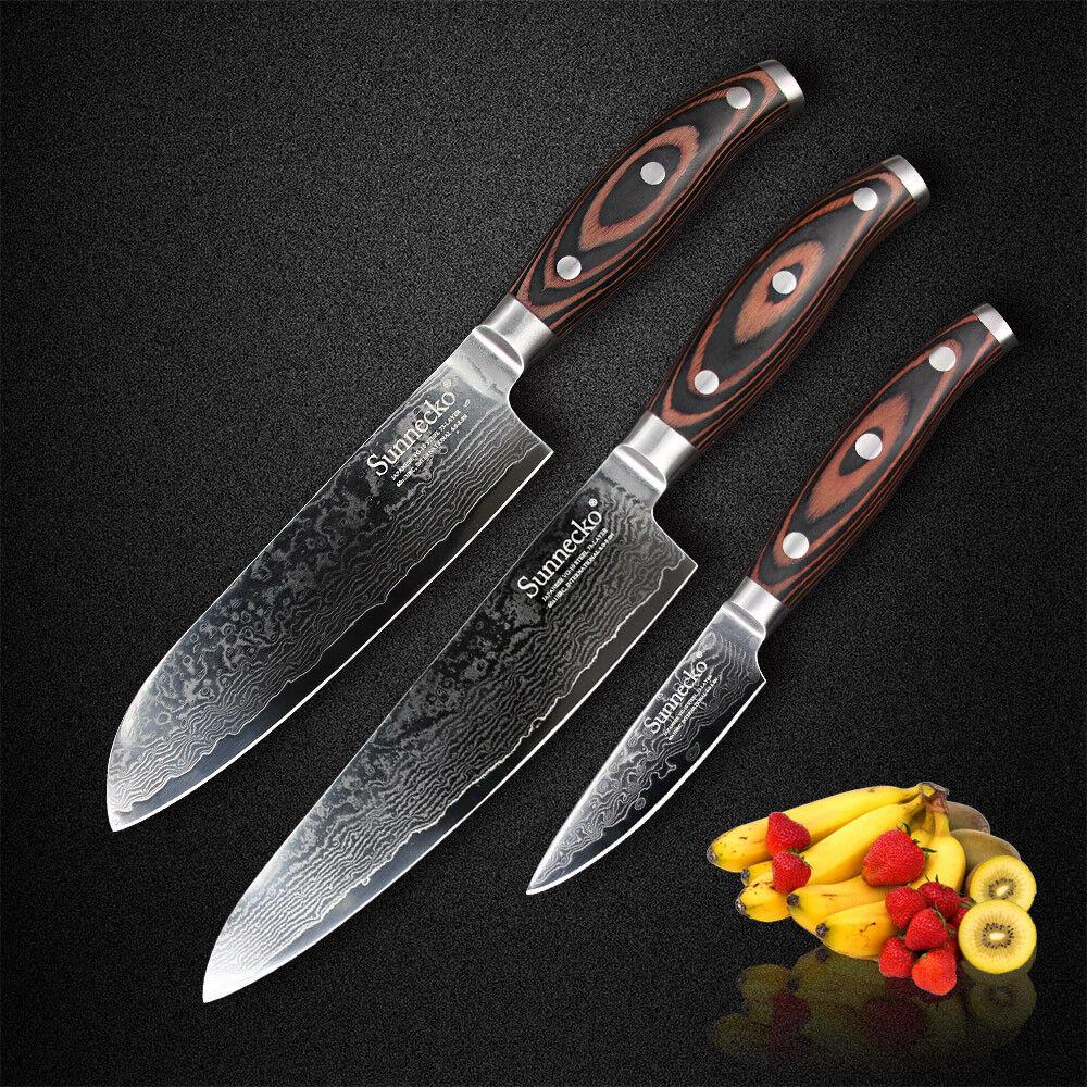 3 Pcs Damascus Chef's Knife Sets Japanese Steel Kitchen Knife Set Wooden Handle