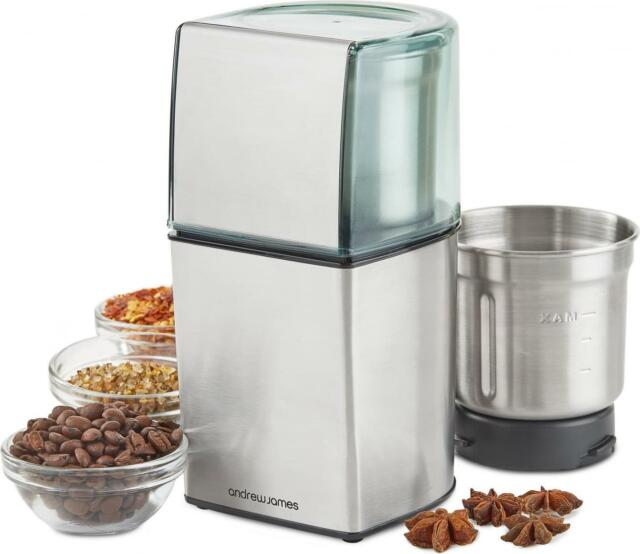 Andrew James Electric Coffee Grinder Wet & Dry Bean Nut Spice Mill Blender