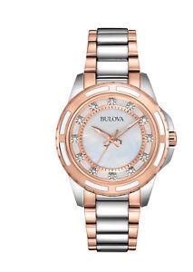 Bulova-Women-039-s-98P134-Quartz-Diamond-Accented-Two-Tone-Bracelet-28mm-Watch