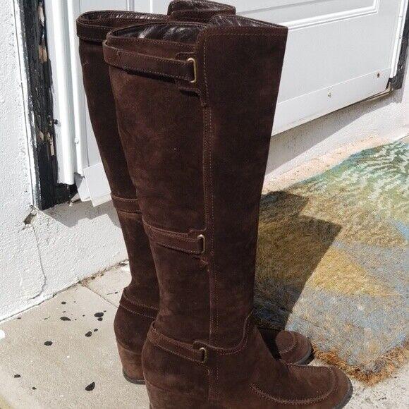 Aquatalia bota de cuña de ante marrón chocolate 9.5