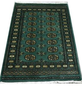 Bokhara-Rug-in-Dark-Green-Original-Hand-Knotted-Oriental-Wool-Rug-95x154cm-SALE