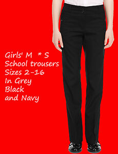 GIRLS-SCHOOL-TROUSERS-EX-M-S-AGES-2-16-BLACK-GREY-AND-NAVY-ZIP-POCKETS