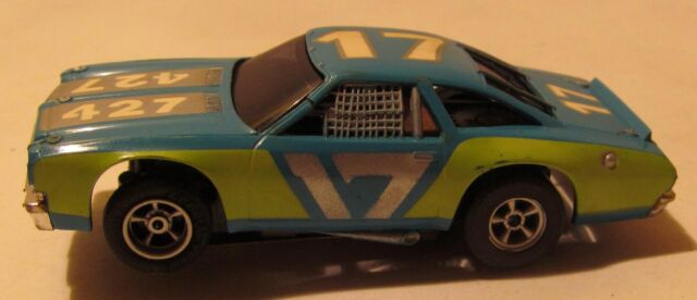 AFX Chevelle Stock Car Slot Car, Blue with Lime Green, Magnatraction #1929