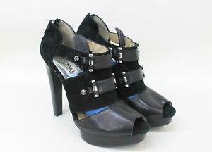 MICHAEL-KORS-Ladies-Black-Leather-amp-Suede-Peep-Toe-Heels-Sandals-UK6-EU39