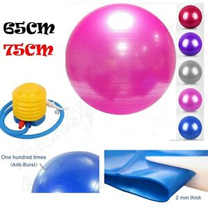 65cm-75cm-ANTI-BURST-YOGA-EXERCISE-GYM-PREGNANCY-SWISS-FITNESS-ABS-BALL-PUMP