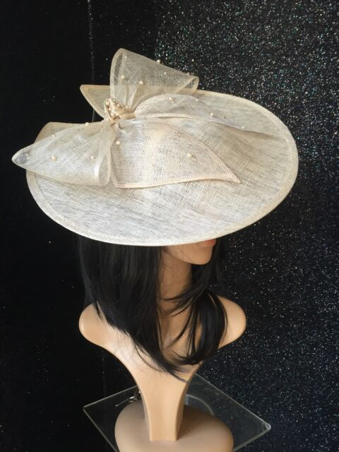 NATURAL OATMEAL DISC FASCINATOR HAT WEDDING FORMAL OCCASION MOTHER OF THE BRIDE
