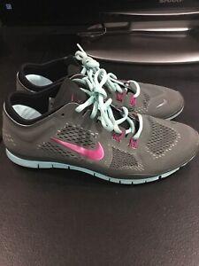 Nike-Womens-Free-Run-Running-Shoes-Sz-9-Gray-Blue-629496-004-Gray-Teal-Purple