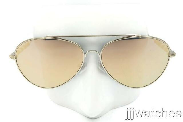 9062cb0c1d66 New Burberry Check Detail Mirror Pilot Light Gold Sunglasses BE3092Q 11674Z  57