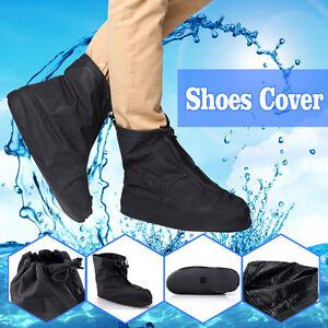 98895ab3df Details about Waterproof Reusable Rain Shoes Cover Bike Zipper Overshoes  Boots Gear Anti-Slip