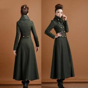 Hot-Women-039-s-Wool-Double-Breasted-Stand-Collar-Military-Long-Coat-Trench-Overcoat