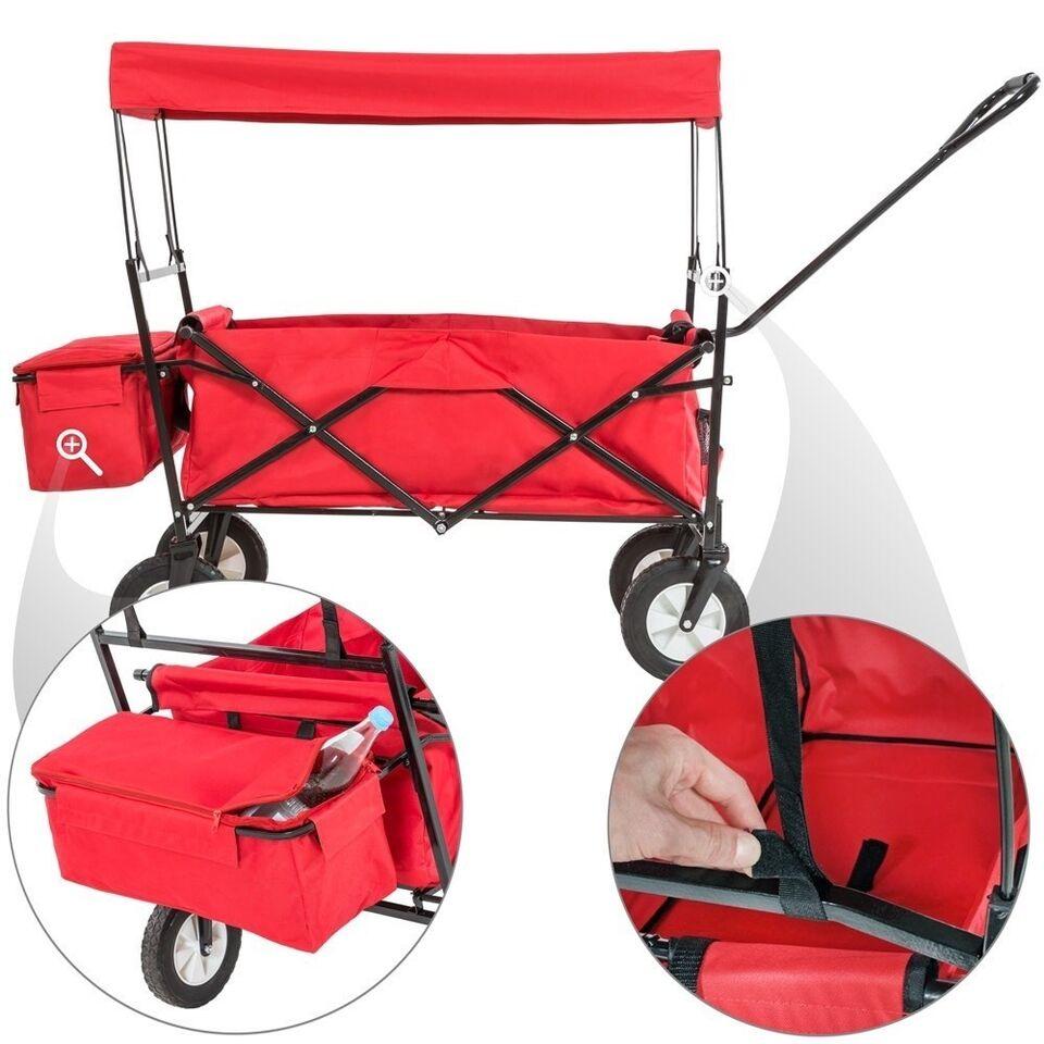 Foldbar trækvogn med tag inkl. taske rød