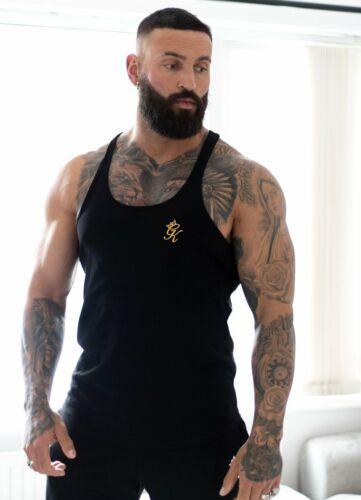 Gym King Mens New Stringer Vest Sleeveless Top Black Gold