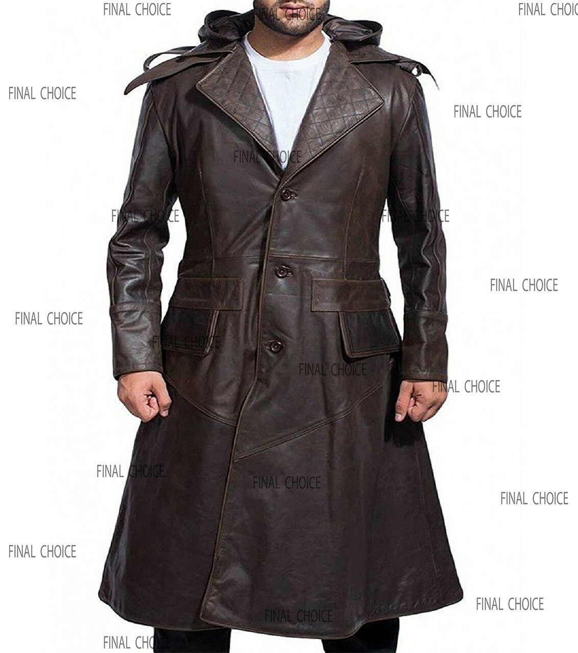 Assassin Creed Syndicate Quilted Brown Long Trench Leather Removable Hoodie Coat