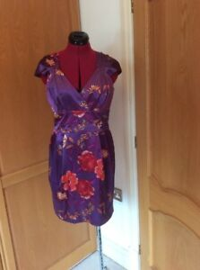NEW-E-VIE-DRESS-SIZE-14-SATIN-ORIENTAL-DESIGN-PURPLE-KNEE-LENGTH-TAGS-28
