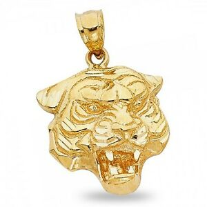 Solid 14k yellow gold tiger head pendant big cat charm polished mens image is loading solid 14k yellow gold tiger head pendant big mozeypictures Gallery