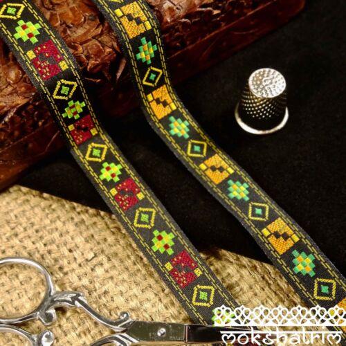 Red Yellow Tribal Geometric Ethnic Jacquard Ribbon Trim M117
