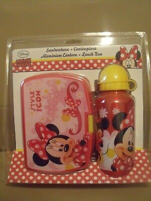 Disney Minnie Mouse /'Style Icône/' École Sandwich Boite et Aluminium Bouteille Lunch