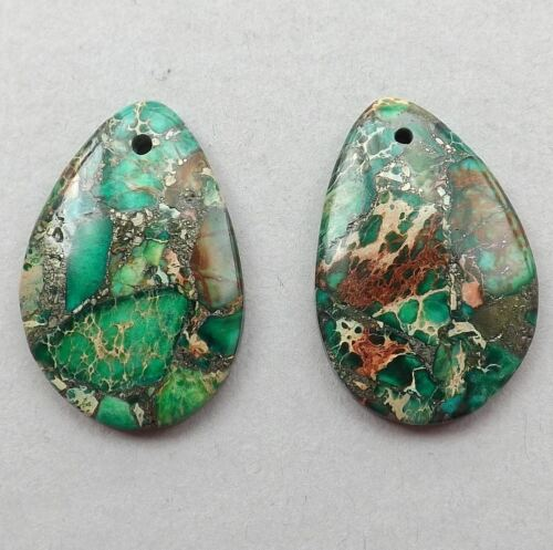 Green Emperor Jasper  gemstone Earring beads,7g 30mmX20mm