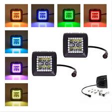2x RGB Halo Ring LED Work Light Bar Cree18W Pods Multi Color Kit Strip Spot beam