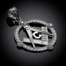 926 Sterling Silver Round Freemasons Masonic Pendant with 4 Cubic Zirconia