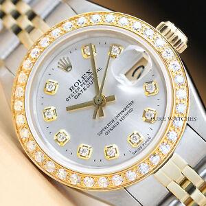 2fdd427ab28 Véritable Rolex Femmes Datejust Argent Cadran Diamant 18K or Jaune ...