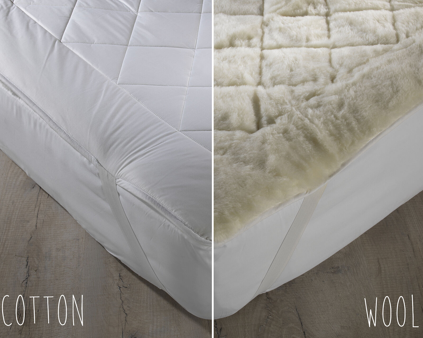 Natural Australian Wool   Cotton Reversible Mattress Topper with Corner Straps