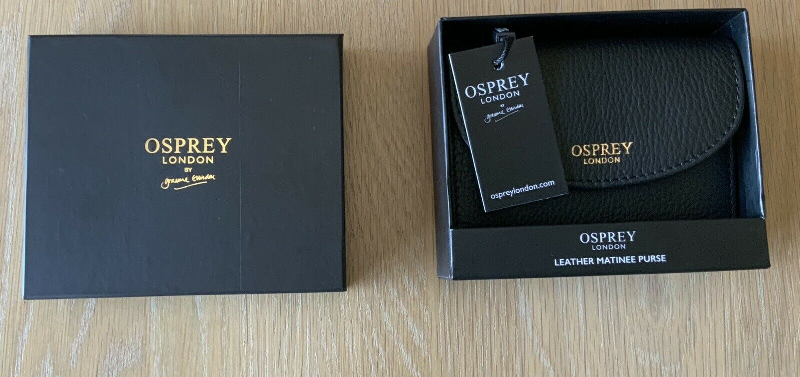 Osprey London Leather Tilly Matinee Purse Black With Gift Box