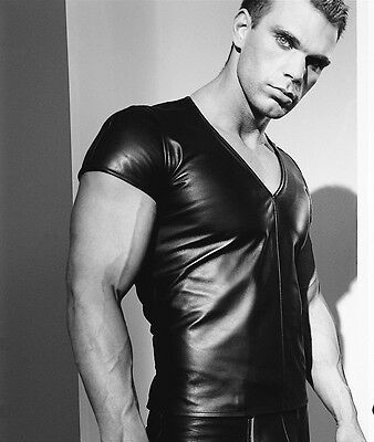New Mens Genuine Leather Shirt V Neck Body Fit T Shirt Short Sleeve Gay Uniform