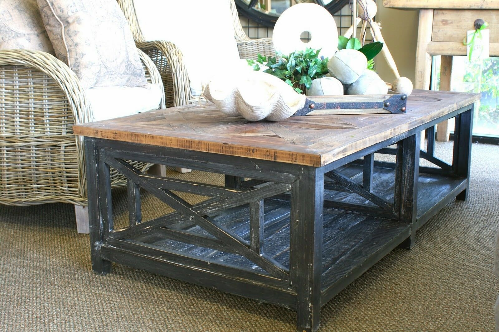 Picture of: Reclaimed Wood Brushed Black Rectangular Coffee Table For Sale Online